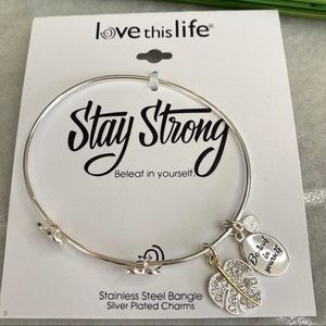 Love this life bracelet stay strong silver charms